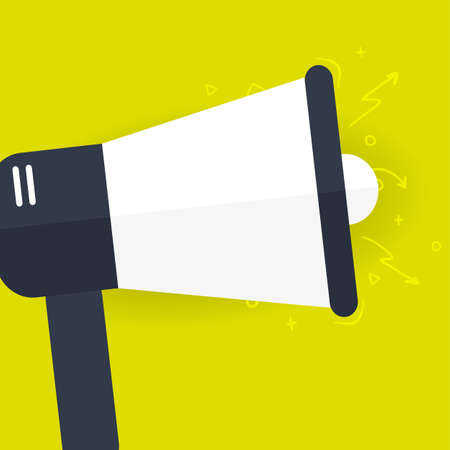Megaphone or loudspeaker. Advertising, announcement, attention banner. Vector flat illustration.
