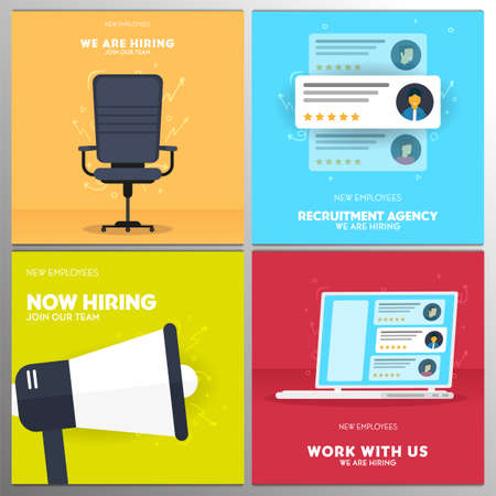 We are hiring. Set of Recruiting banners. Vector illustration.