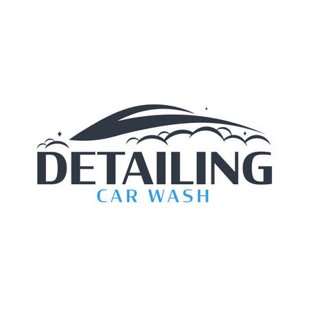Auto Detailing. Car Wash logo. Cleaning Car, Washing and Service. Vector logo with auto.