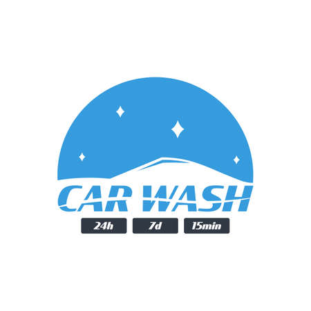 Car Wash logo. Cleaning Car, Washing and Service. Vector logo with auto. Illusztráció