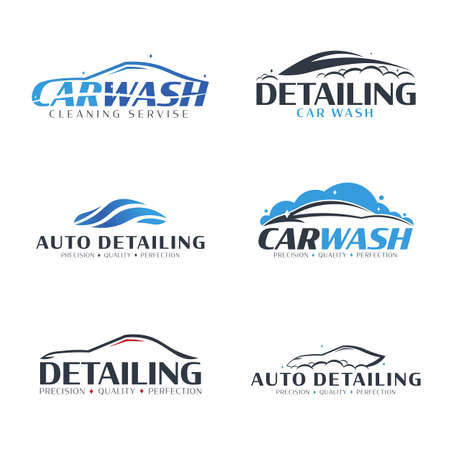 Set of Car Wash logos. Cleaning Car, Washing and Service. Vector logo with auto. 로고