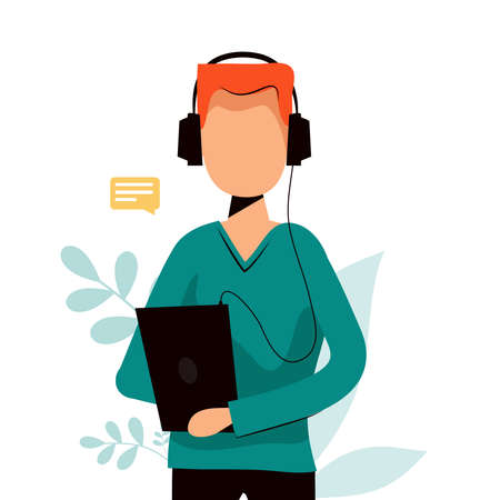 Man listening podcast or vlog in headphones on his phone. Vector flat illustration.