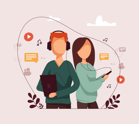 Man and girl listening podcast in headphones on his phone. Vector flat illustration.