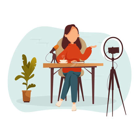 Podcast, vlogger or blogger create internet content. Vector flat illustration. Character creating video for blog or vlog review.