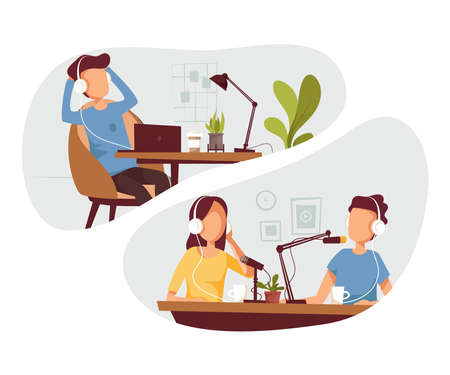 Podcasters talking to microphones recording podcast in studio podcasting. Man listening online podcast in headphones. Vector flat illustration. 矢量图像