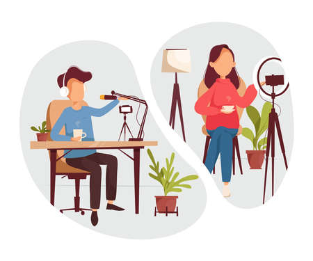 Podcast, vloggers or bloggers create internet content. Vector flat illustration. Characters creating video for blog or vlog review.