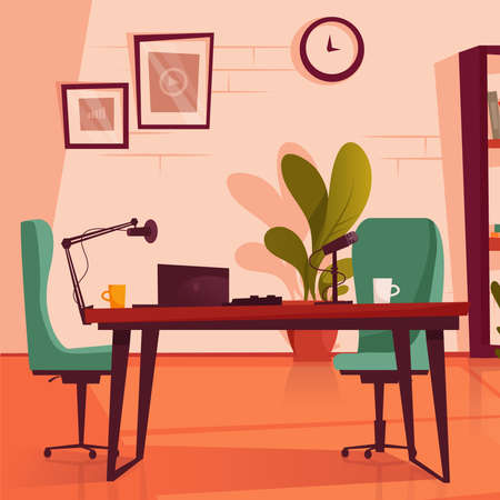 Empty podcasting studio with microphones, laptop, desk and chair. Flat vector illustration.