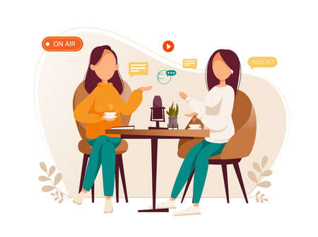 Girls podcasters talking to microphones recording podcast in studio podcasting. Vector flat illustration.