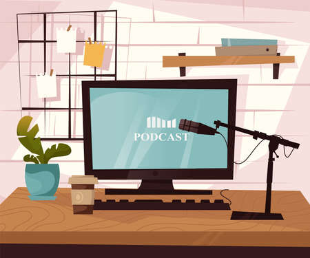Work desktop of podcaster with microphone and computer. vector flat illustration.