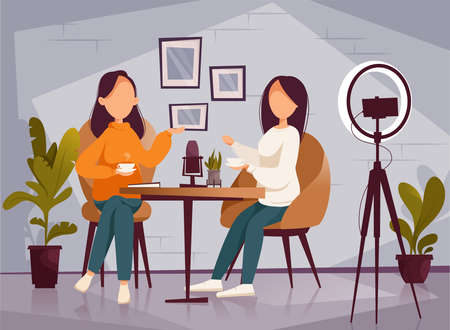 Podcast, vloggers or bloggers create internet content. Vector flat illustration. Character creating video for blog or vlog review and talking on camera.