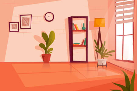 Empty room at the day. Flat vector illustration.