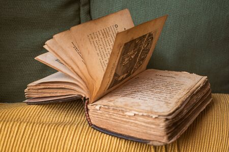 very small and old bible in spanish with many damaged pages found in a grandfather's library