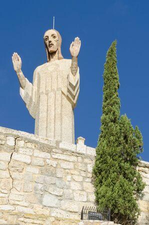 Otero Christ, Cristo del Otero, with dramatic sky in Palencia, Spain