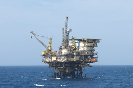 well platform: Offshore oil production rig.  Coast of Brazil. Stock Photo