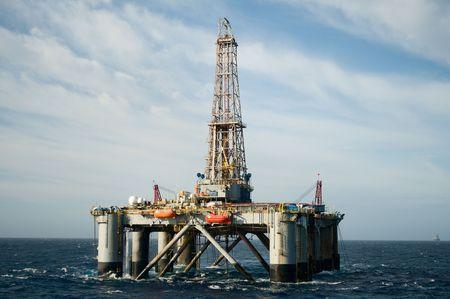 well platform: offshore oil rig.  Coast of Brazil