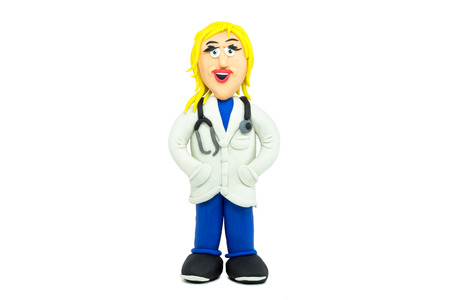 medical student: Friendly doctor woman smiling made in plasticine Stock Photo