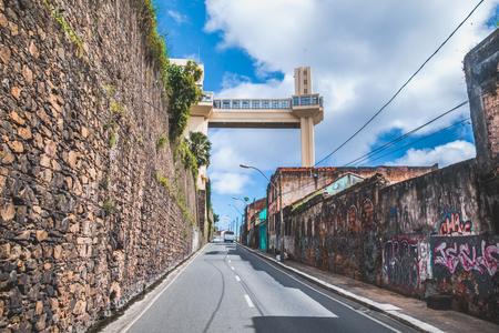 View of Lacerda Elevator and All Saints Bay (Baia de Todos os Santos) in Salvador, Bahia, Brazil.