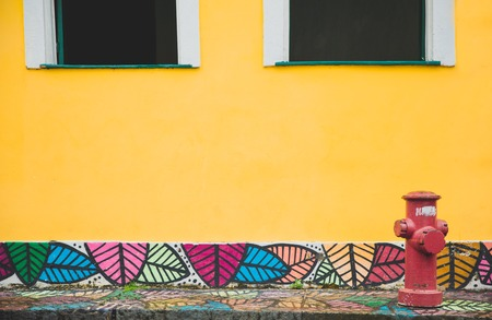 Detail of the street in famous city in Bahia, Salvador - Brazil. Painted ground and yellow wall and two windows