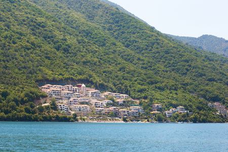 Landscape of the bay of Kotor in Montenegro, view from the ship. Adriatic sea. Stock Photo - 124887790