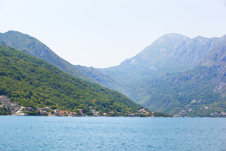 Landscape of the bay of Kotor in Montenegro, view from the ship. Adriatic sea. Banco de Imagens