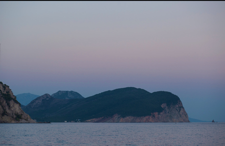 Landscape in Montenegro. View of the Petrovac town bay. Balkans, Adriatic sea, Europe