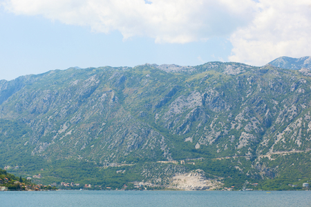 Landscape of the Bay of Kotor in Montenegro, view from the ship. Adriatic sea. Stock Photo