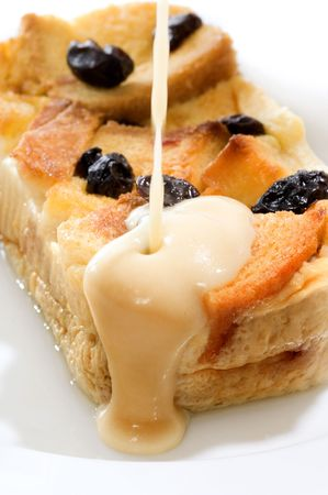 Bread pudding, made from bread covered with fla Stock Photo