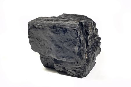 combustible: Coal on Isolated White Background Stock Photo