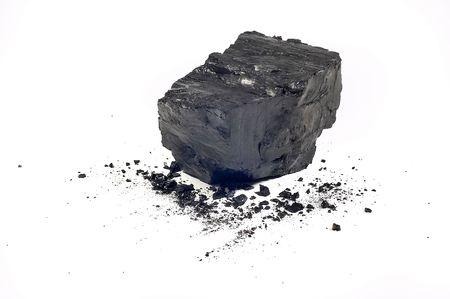 Coal on Isolated White Background photo