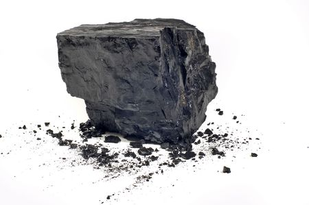 coal mine: Coal on Isolated White Background Stock Photo