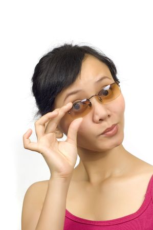 Asian Pretty Girl wear sunglasses on white background photo