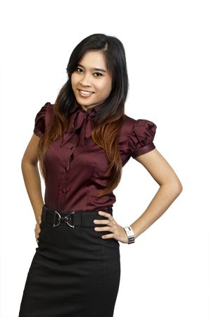 Asian Model Wearing brown shirt pose at white background. She looks pretty and fresh photo