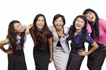 Happy group of attractive young women smiling isolated on white background Stock Photo - 5941161