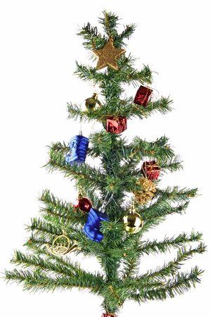 fake christmas tree: Fake plastic christmas tree isolated on white background Stock Photo