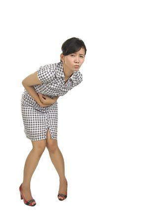 Young woman got stomach ache isolated on white background photo