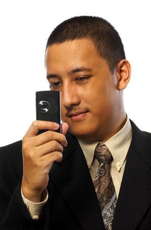 Businessman Take Photo with cellphone isolated on white background photo