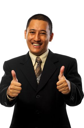 flattery: Businessman give two thumbs up isolated on white background