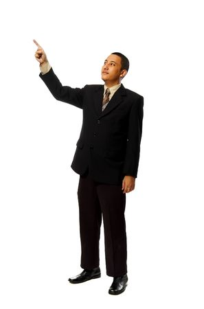 Business man pointing something isolated on white background Stock Photo - 6541901