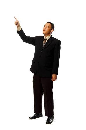 Business man pointing something isolated on white background Stock Photo - 6541901