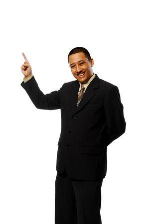 Business man pointing something isolated on white background photo