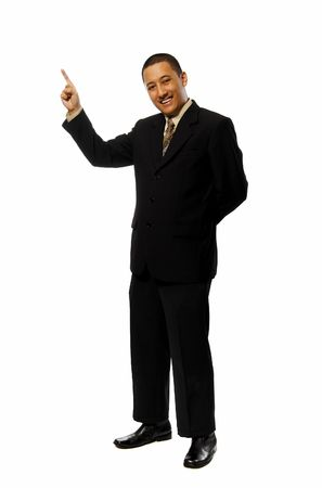 Business man pointing something isolated on white background photo