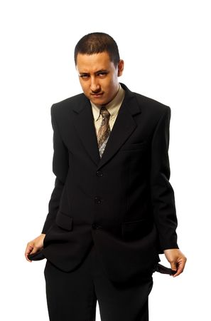 Bankrupt business man isolated on white background photo