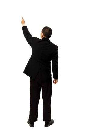 Business man pointing something isolated on white background Stock Photo