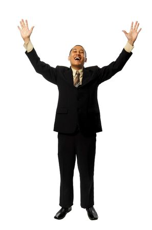 sensational: Young Success Fullbody business man isolated on white background