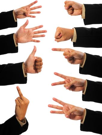A lot of hand gesturing of man isolated over white backgroud Stock Photo - 6920297