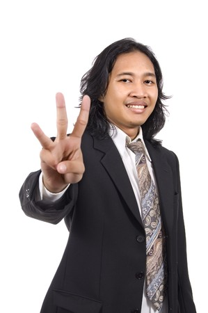 3 persons only: Long hair man give number three by hand gesture isolated on white background