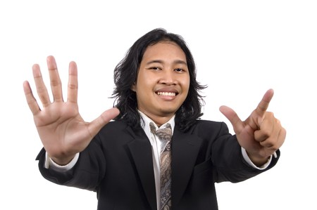 Long hair man give number seven by hand gesture isolated on white background photo