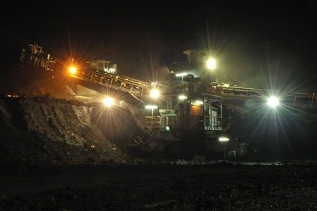 open pit: Coal mining in action, this is coal heavy equipment