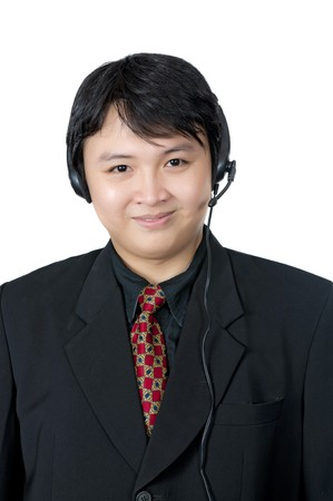 Asian phone operator wearing suit isolated over white background Stock Photo - 8131018