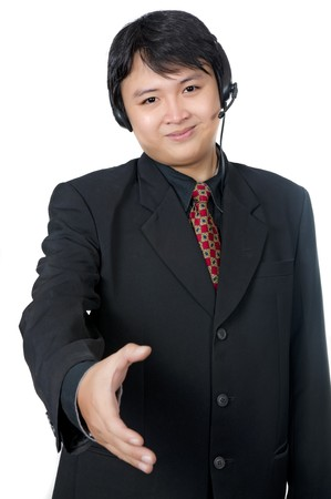 Asian phone operator wearing suit want to shake hand isolated over white background Stock Photo - 8131012